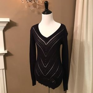 BCBGMAXAZRIA Asymmetrical Sweater, Navy, XS